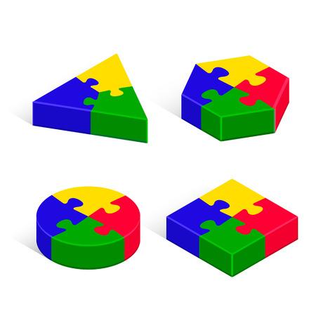 Puzzle 3d geometric isometric figure set, three-dimensional vector isolated color illustration. Illustration