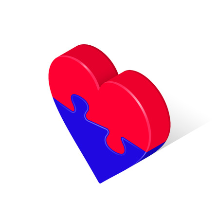 Puzzle Heart Isometric Two Red Blue Piece. Vector 3d Illustration, Isolated on White Background. Valentine's Day Love icon.