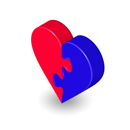 Puzzle heart isometric two red and blue piece. Vettoriali