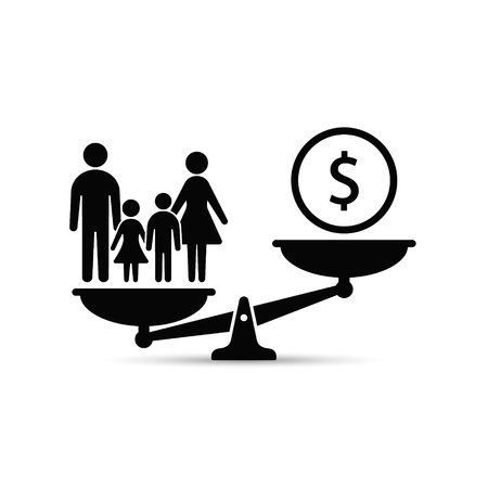 Scales family and money concept. Family or business career illustration with scale.