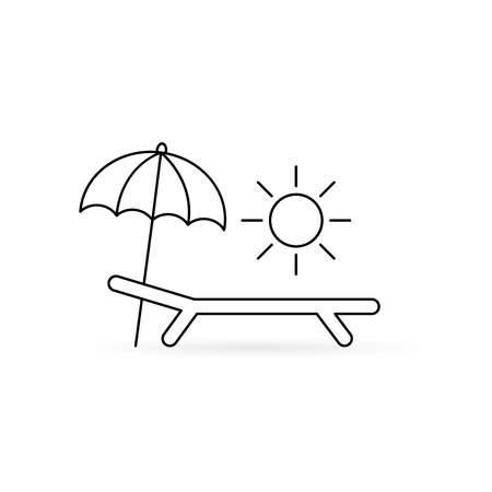 Chaise-longue sea and sun icon, Vacation relaxing on the beach simple illustration.