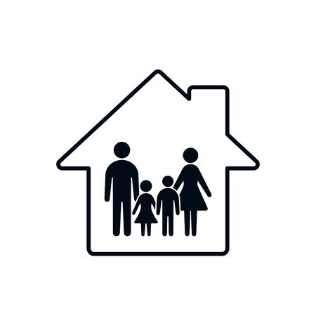 Familie pictogram en huis silhouet. Conceptuele vectorillustratie.