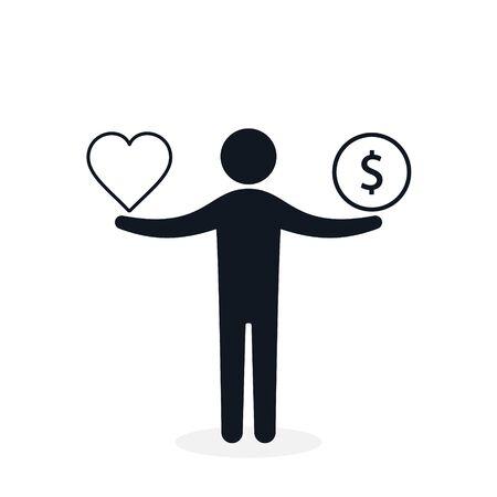 Balance between heart and money. Man balances heart love and money concept. Vector illustration.