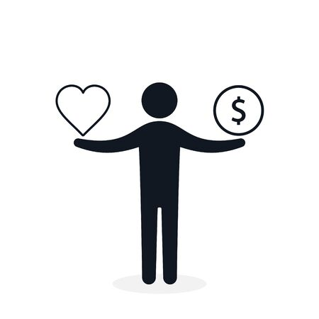 Balance between heart and money. Man balances heart love and money concept. Vector illustration. 写真素材 - 99420730