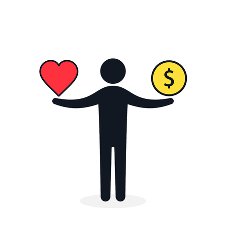 Balance between heart and money. Man balances heart love and money concept. Vector color illustration.