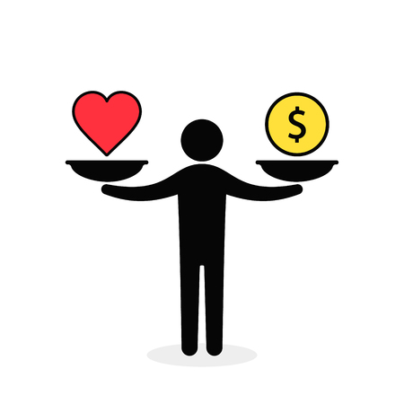 Balance between heart and money. Man balances heart love and money on scale concept. Vector color illustration. Illustration