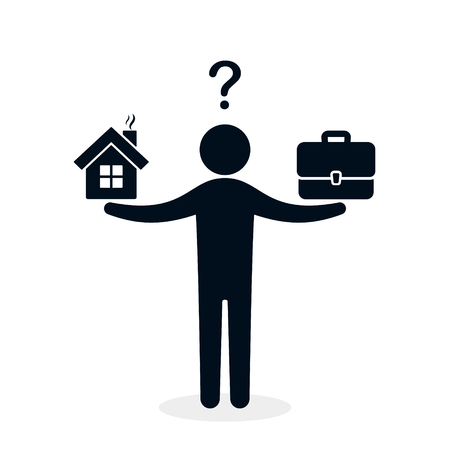 Man balances Home and business concept. Weight between work, money and family. Balance life business concept. Family or money. Vector isolated illustration.