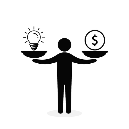 Man balances Light Bulb Idea and Money on scales concept. Vector flat design business illustration.