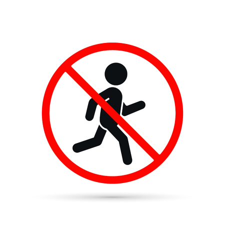 No run sign, vector isolated warning illustration.