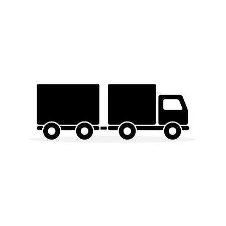 Truck with Trailer Icon Vector. Flat simple pictogram on white background.