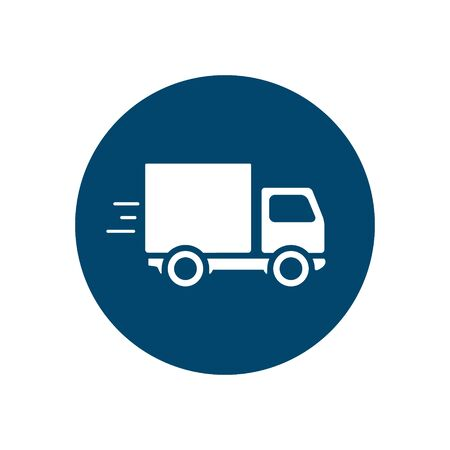 Delivery truck icon isolated on round background. Vector simple illustration. Delivery concept. Vectores