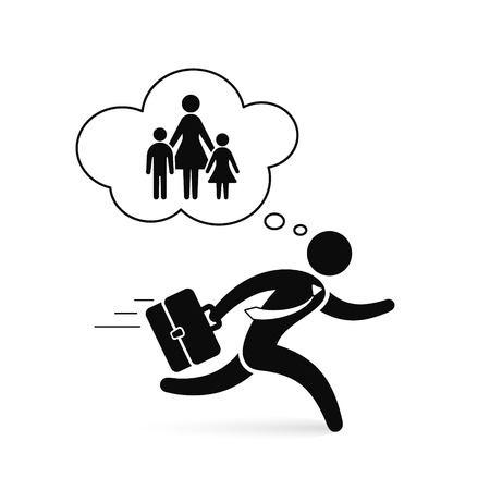 Happy Business man walking with family and house in think bubble illustration. Vector concept.