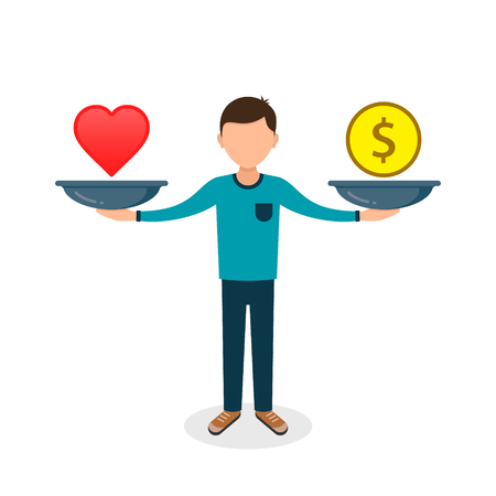 Balance between heart and money. Man balances heart love and money on scale concept Vector color flat illustration. Vectores