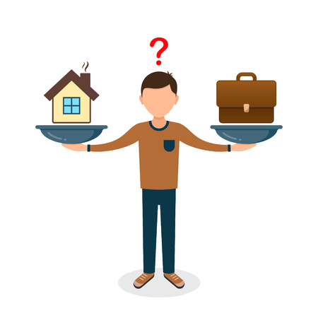 Home and business on scales icon. Weight between work, money and family. Balance life business concept. Man balances Family or money. Vector illustration. Illustration