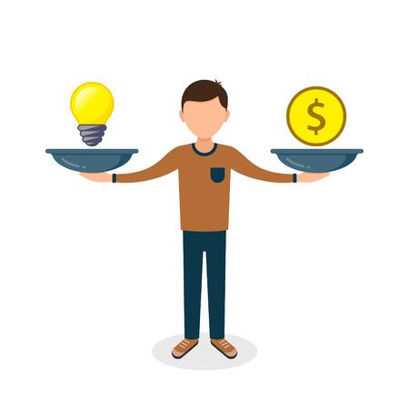 Man balances Light Bulb Idea and Money on scales concept Vector flat design business illustration.
