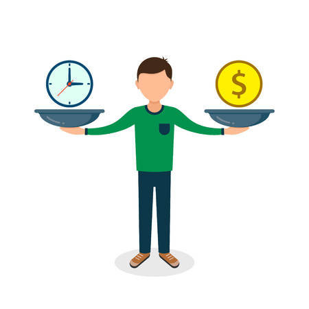 Time and money on scales icon. Man balances Money and Time concept. Weights with clock and money Vector illustration.
