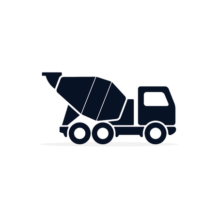 Concrete mixer icon logo flat isolated symbol on white background Vector. Ilustração