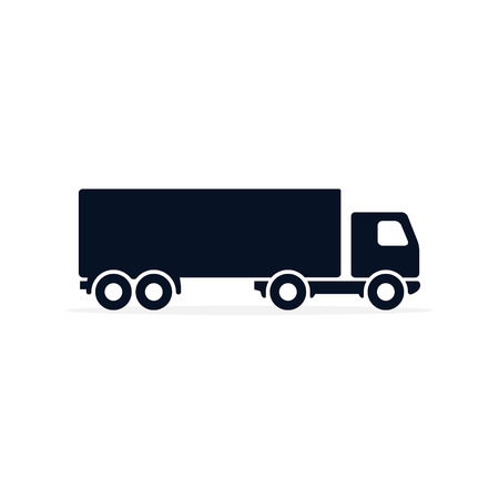 Vector icono de camión en símbolo plano simple. Ilustración de pictograma negro sobre fondo blanco.