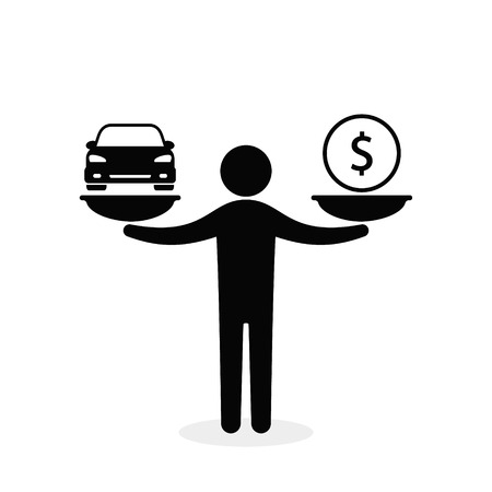 Car and money on scales, man balances car and coin on scale, vector flat style concept.