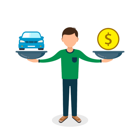 Car and money on scales, man balances car and coin on scale, vector color flat style concept.