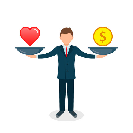 Heart or money vector illustration. Heart versus money on scales. Businessman balances Love and coin concept. Vectores