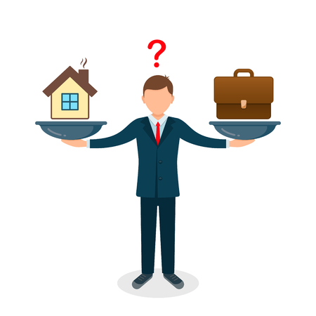 Home and business on scales icon. Weight between work, money and family. Balance life business concept. Man balances Family versus money. Vector illustration. Vectores