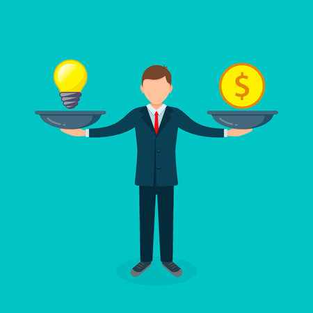 Man balances Light Bulb Idea vs Money on scales concept. Vector flat design business illustration.