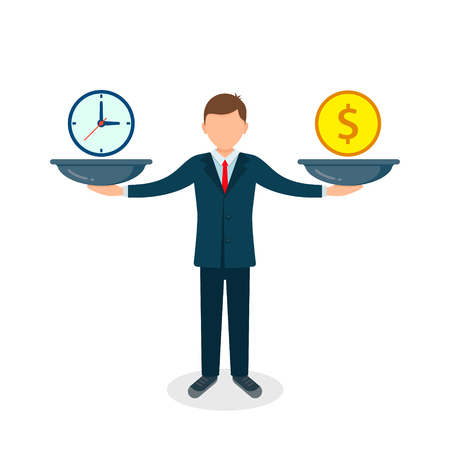 Time and money on scales icon. Man balances Money vs Time concept. Weights with clock and money. Vector illustration.