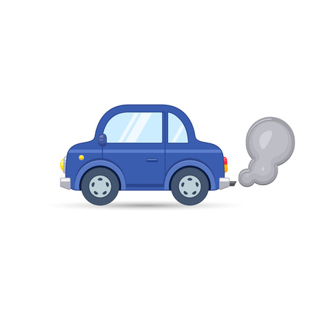 Car side view. Car exhaust traffic fumes. Vector isolated flat illustration.