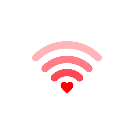 Heart wifi. Vector heart connect icon in flat style. Heart signal. Love connection. Wifi hotspot signal. Love signal. Wifi sign. Çizim
