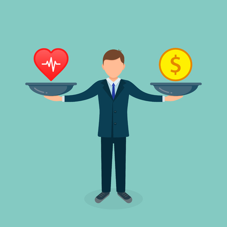 Health or money vector illustration. Heart versus money on scales. Businessman balances Health and coin concept.