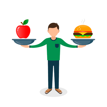 Man balances Fast food and apple healthy food on scales. Loss weight Diet nutrition, fitness and health concept. vector illustration.