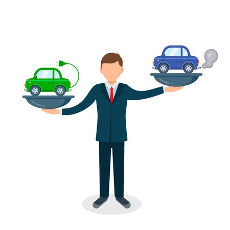 Comparison between electric environmentally friendly and gas polluting car illustration. Electric car versus gasoline and diesel car on scales. Illustration