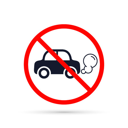 No idling or idle reduction transport sign on white background. vector isolated illustration. 向量圖像