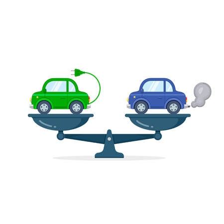 Electric car versus gasoline and diesel car on scales flat illustration. Comparison between electric environmentally friendly and gas polluting car. Çizim