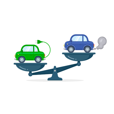 Electric car versus gasoline and diesel car on scales flat color illustration. Comparison between electric environmentally friendly and gas polluting car.