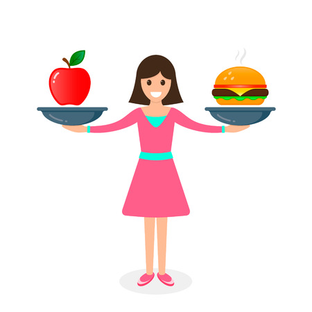 Woman balances Fast food and apple healthy food on scales. Loss weight Diet nutrition, fitness and health concept. vector illustration. Illustration