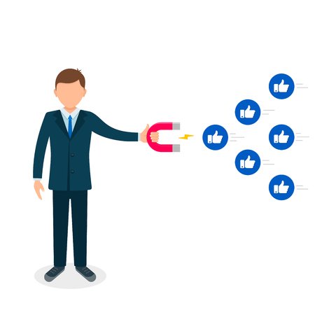 Young man attracting likes with a huge magnet, editable flat vector illustration. Social media marketing concept. Illustration