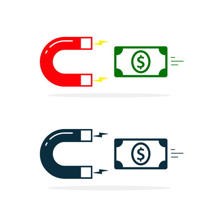 Magnet attracting money cash. Magnet attract money. Flat design, vector illustration.