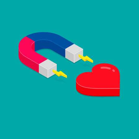 Magnet attracting heart icon isometric 3d, Vector isolated illustration. Flat design.