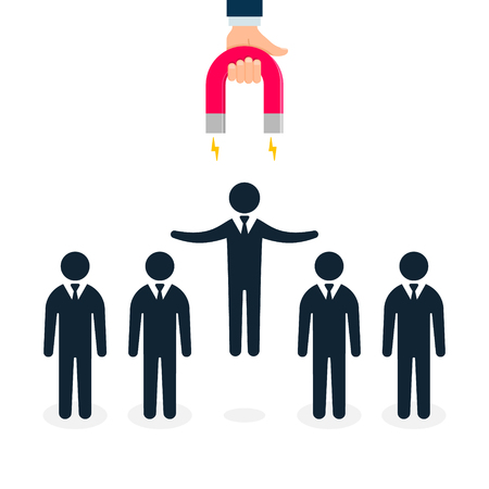 Hand with Magnet attract talent businessman illustration. Concept business vector illustration. Vektoros illusztráció