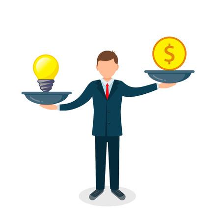 Man balances Light Bulb Idea vs Money on scales concept. Vector flat business illustration. Vectores