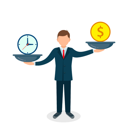 Time and money on scales. Man balances Money vs Time concept. Weights with clock and money. Vector illustration.
