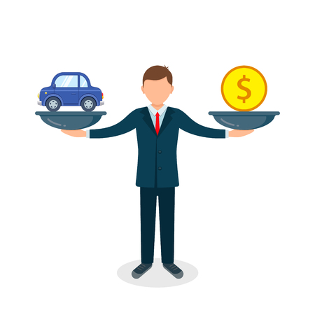 Car and money on scales, man balances car and coin on scale, vector color flat style concept illustration. Vectores