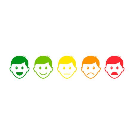 Feedback icon set, man face with different mood. Emoticon evaluation icon. Vector.