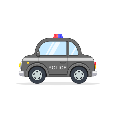 Police Car Cartoon isolated illustration. Side view. Flat design. Vector.