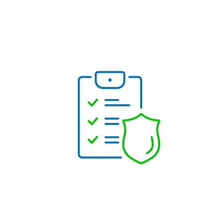 Checklist and shield, Insurance policy concept, data document security, vector line icon.