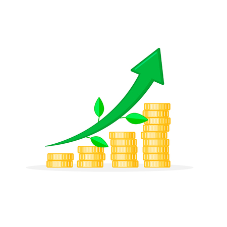 Coin stacks icon in shape of diagram arrow with leaves. Growing graph Income and profit business concept. Flat design Vector illustration.