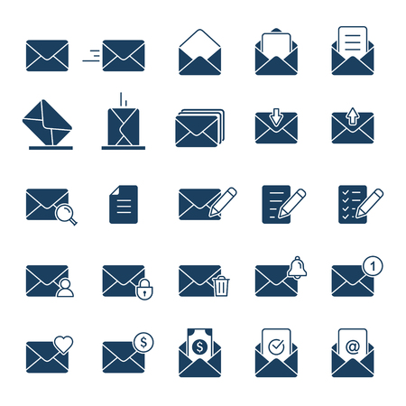 Envelope Mail icon set. Vector isolated symbol collection in flat style. Web graphics resources.
