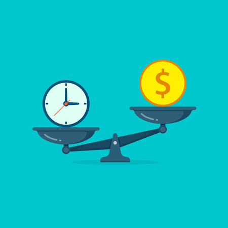 Time vs money on scales illustration. Money and time balance on scale. Weights with clock and money coin. Vector isolated concept icon.